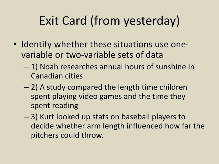Exit card from yesterday