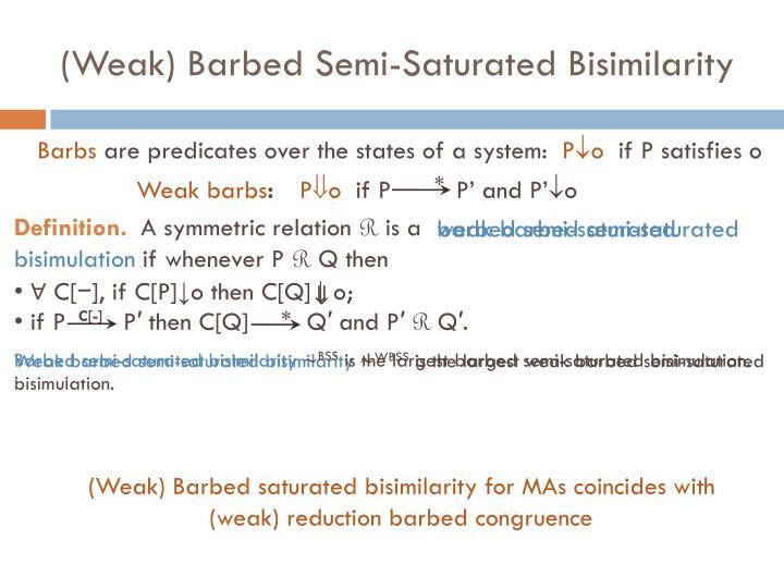 (Weak) Barbed Semi-Saturated Bisimilarity