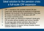 ideal solution to the pension crisis a full scale cpp expansion