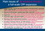 main issues of solutions thereto a full scale cpp expansion