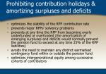 prohibiting contribution holidays amortizing surpluses and deficits