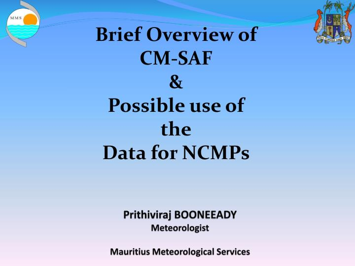 Prithiviraj booneeady meteorologist mauritius meteorological services