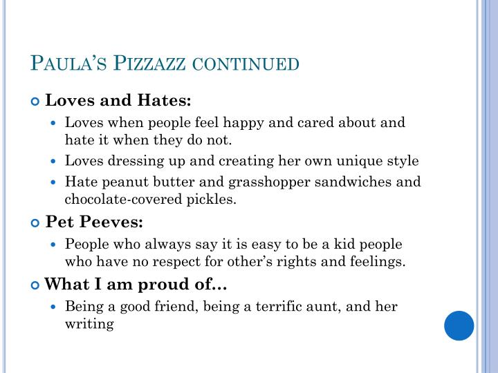 Paula's Pizzazz continued