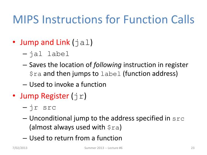 MIPS Instructions for Function Calls