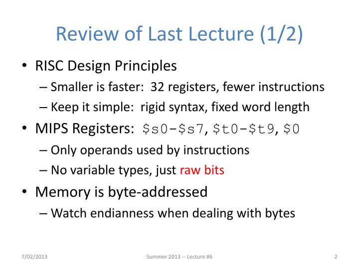 Review of last lecture 1 2