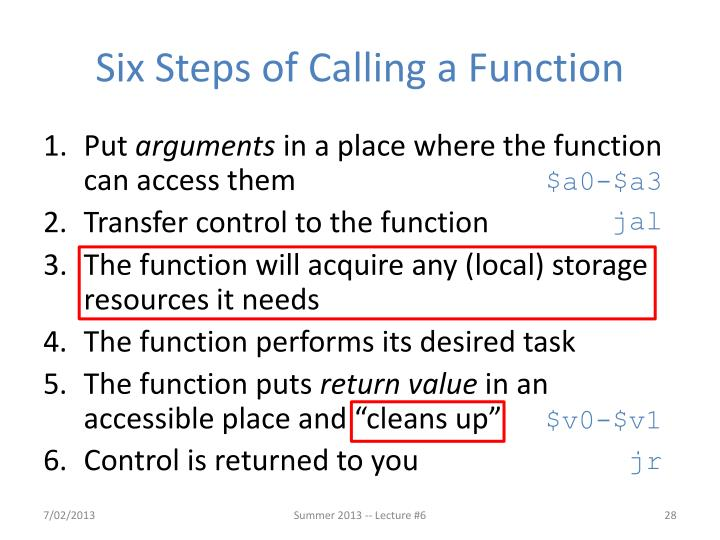 Six Steps of Calling a Function