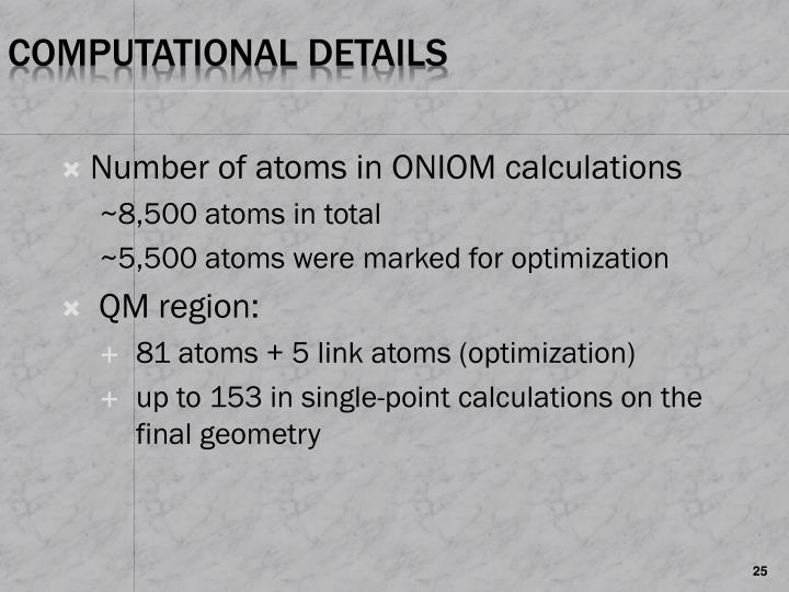 Number of atoms in ONIOM calculations