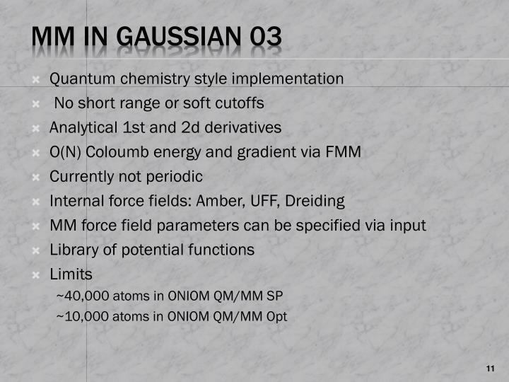 Quantum chemistry style implementation