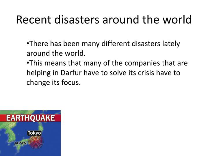 Recent disasters around the world