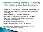 generative writing sentence combining correlation to iowa core curriculum