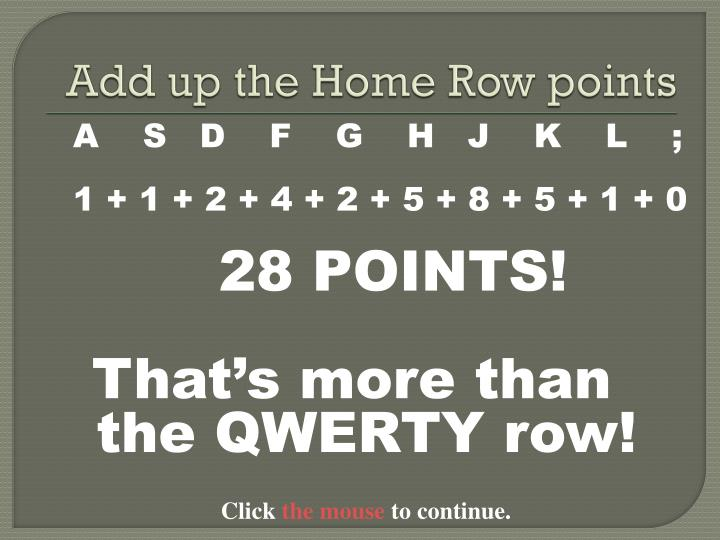 Add up the Home Row points