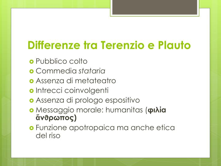 Differenze tra Terenzio e Plauto