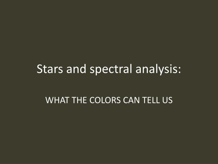 stars and spectral analysis n.