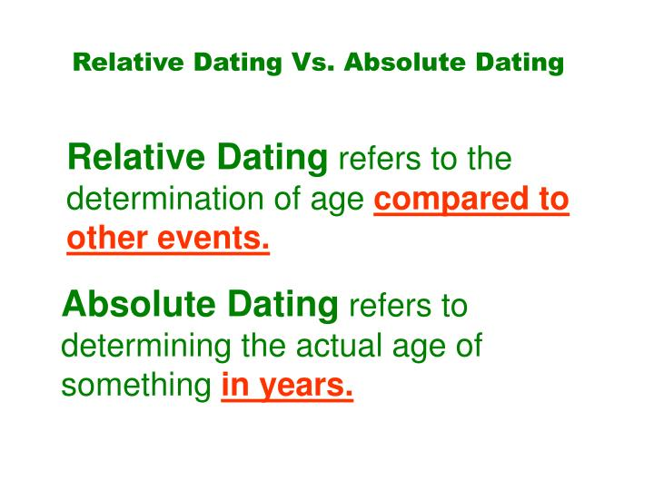 Relative Dating Vs. Absolute Dating