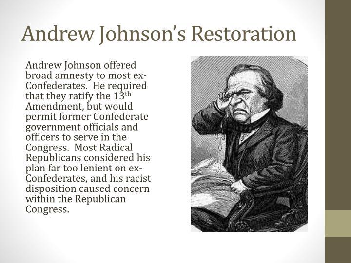 Andrew johnson s restoration