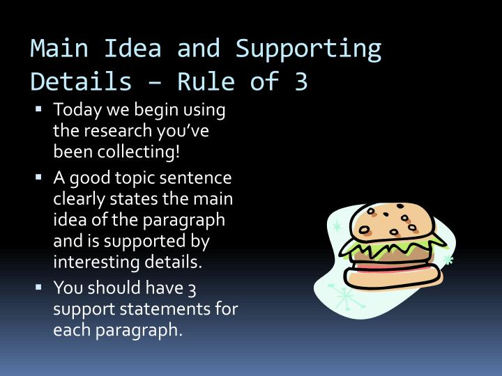 Main Idea and Supporting Details – Rule of 3