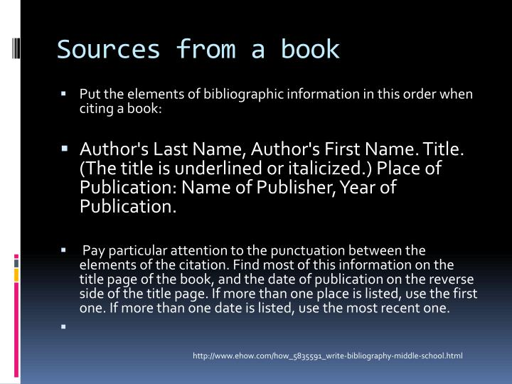 Sources from a book