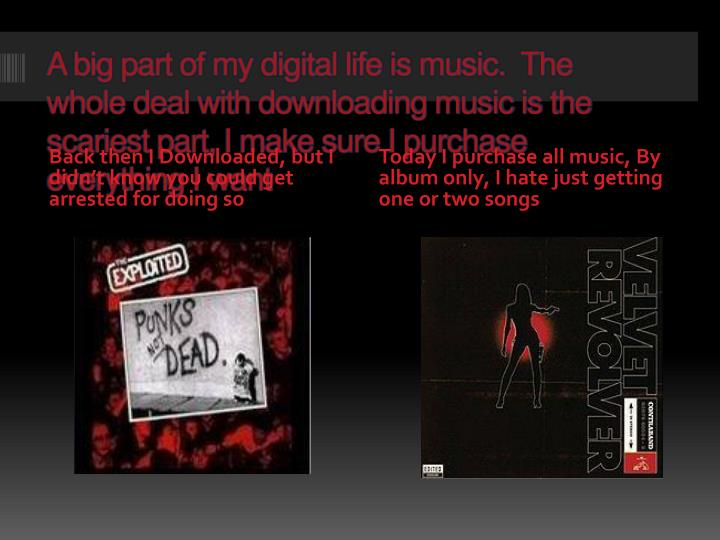 A big part of my digital life is music.  The whole deal with downloading music is the scariest part,...