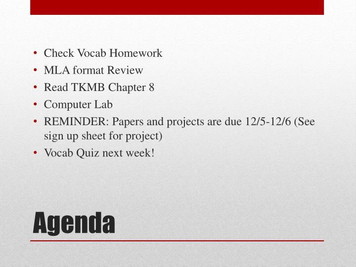 Check Vocab Homework
