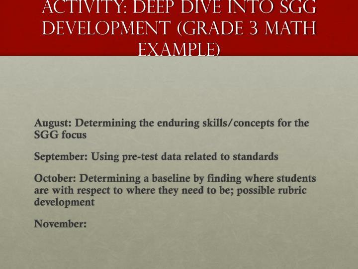 Activity: Deep Dive into SGG development (Grade 3 Math Example)