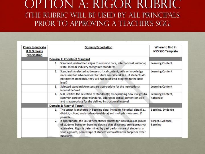 OPTION A: Rigor Rubric