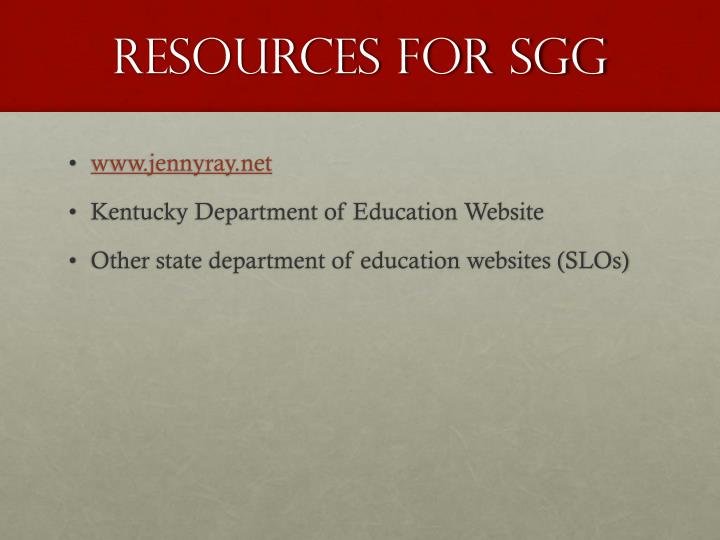 Resources for SGG