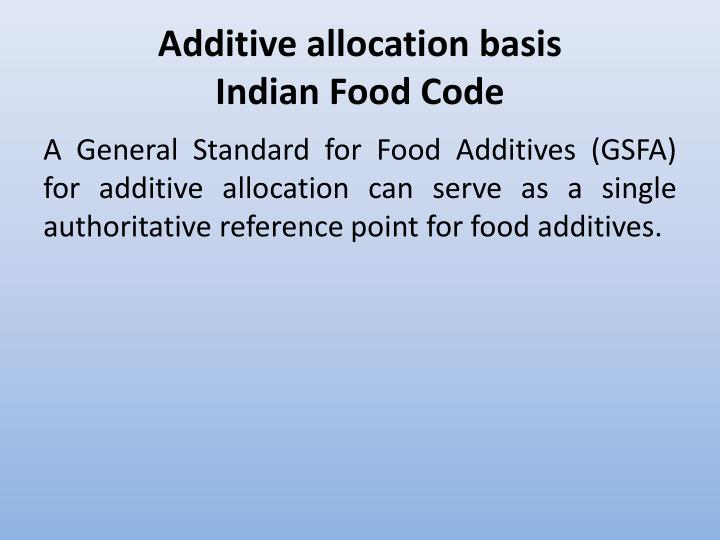 Additive allocation basis