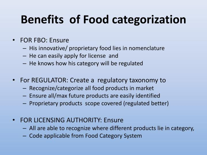 Benefits  of Food categorization