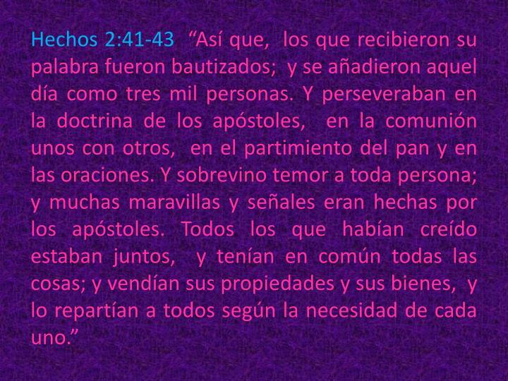 Hechos 2:41-43
