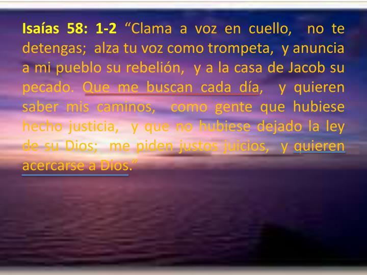 Isaías 58: 1-2