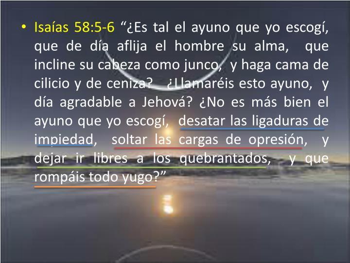 Isaías 58:5-6