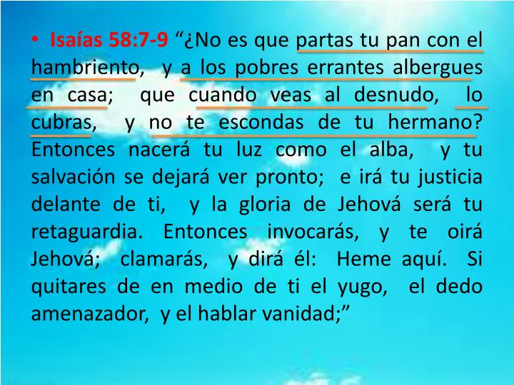 Isaías 58:7-9