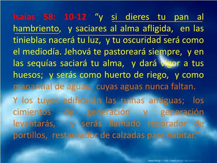 Isaías 58: 10-12