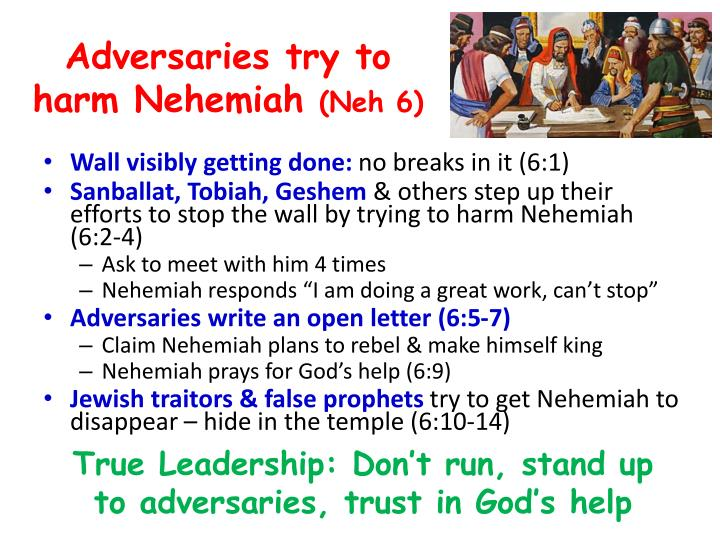Adversaries try to harm Nehemiah