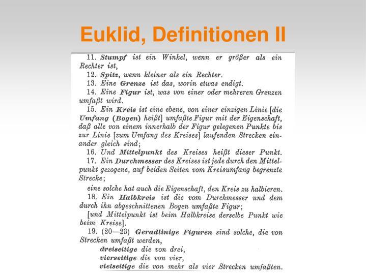 Euklid, Definitionen II