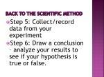 back to the scientific method