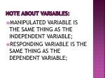 note about variables