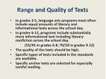 range and quality of texts