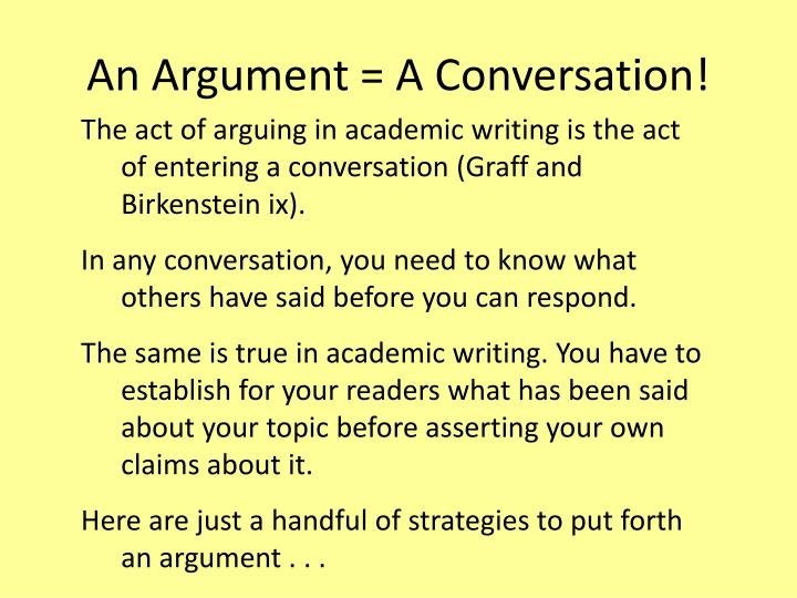 An Argument = A Conversation!