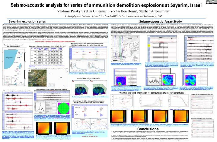 Seismo acoustic analysis for series of ammunition demolition explosions at sayarim israel