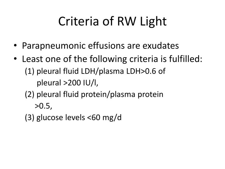 Criteria of RW Light