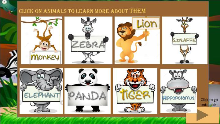 Click on animals to learn more about