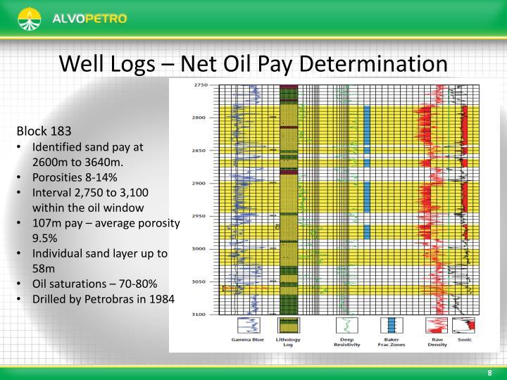 Well Logs – Net Oil Pay Determination