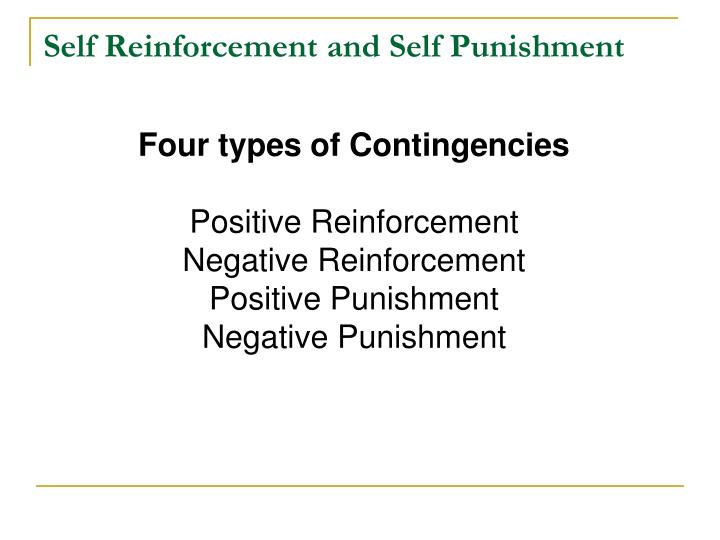 Self Reinforcement and Self Punishment