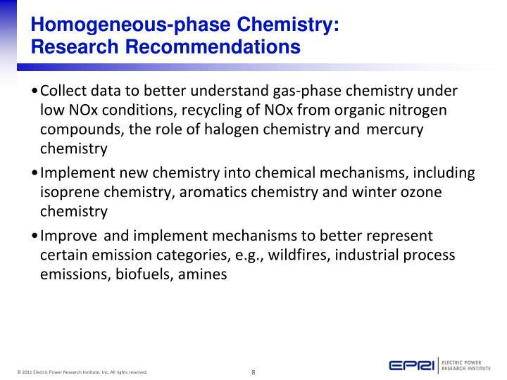 Homogeneous-phase Chemistry: