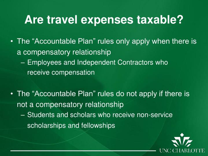Are travel expenses taxable?