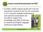 issues around assessment of osy1