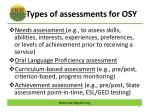 types of assessments for osy