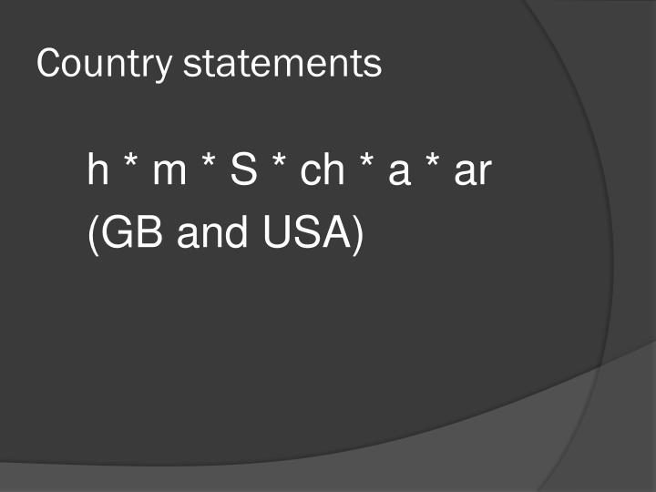 Country statements