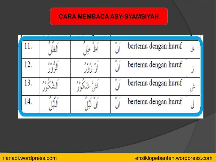 CARA MEMBACA ASY-SYAMSIYAH